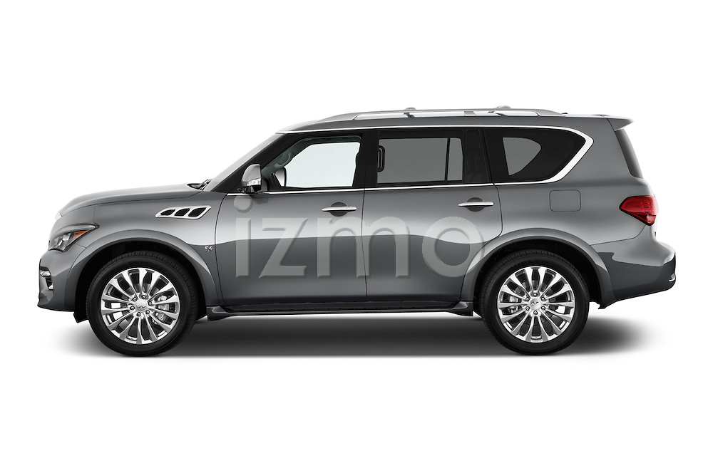 Car Driver side profile view of a 2017 Infiniti QX80 3.5 5 Door SUV Side View