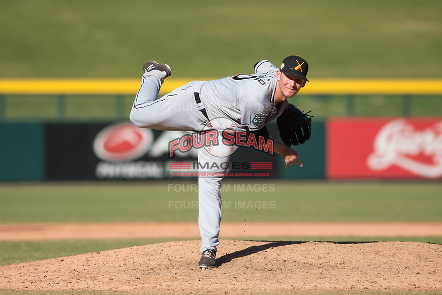 Salt River Rafters relief pitcher Kyle Keller (40), of the Miami Marlins organization, delivers a pitch during an Arizona Fall League game against the Mesa Solar Sox at Sloan Park on November 9, 2018 in Mesa, Arizona. Mesa defeated Salt River 5-4. (Zachary Lucy/Four Seam Images)