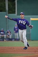 Elliott Barzilli (3) of the TCU Horned Toads throws to first base against the Long Beach State Dirtbags  at Blair Field on March 14, 2017 in Long Beach, California. Long Beach defeated TCU, 7-0. (Larry Goren/Four Seam Images)