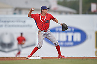 Williamsport Crosscutters shortstop Nick Maton (6) throws to first base during the first game of a doubleheader against the Batavia Muckdogs on August 20, 2017 at Dwyer Stadium in Batavia, New York.  Batavia defeated Williamsport 6-5.  (Mike Janes/Four Seam Images)
