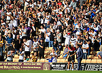 Port Vale 3 Doncaster Rovers 0, 22/08/2015. League One, Vale Park. Port Vale fans celebrate their teams second goal as Doncaster Rovers Manager Paul Dickov watches. Photo by Paul Thompson.