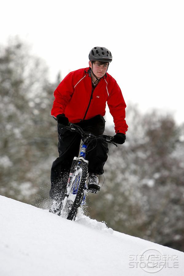 Sam Behr riding Kona Bike ..Wentworth Snow , Surrey  January 2010..pic copyright Steve Behr / Stockfile