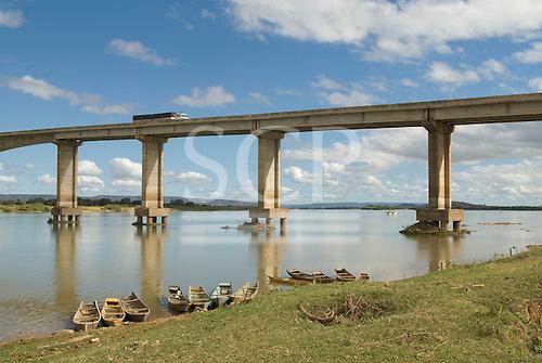 Ibotirama, Bahia State, Brazil. Sao Francisco River; wooden river boats moored, bridge.