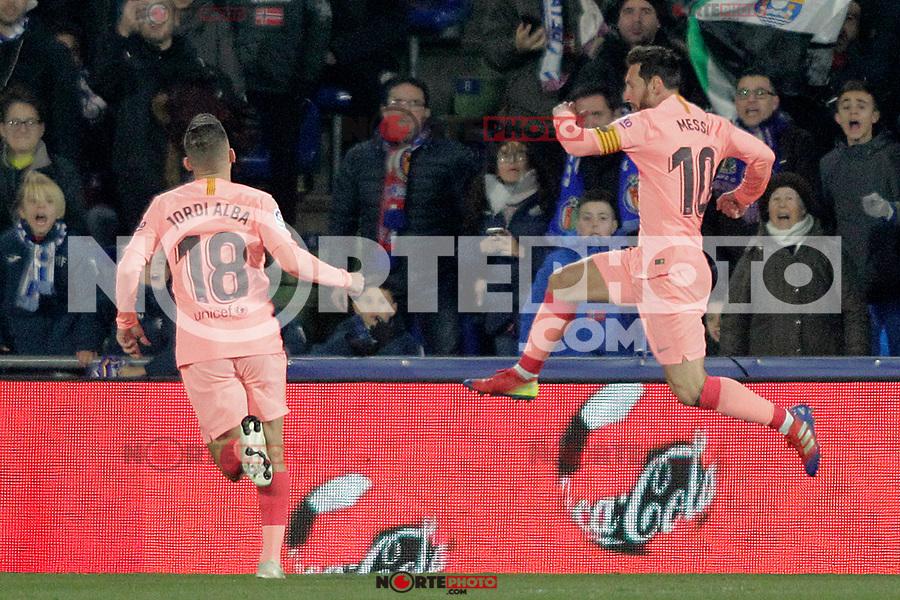 FC Barcelona's Jordi Alba (l) and Leo Messi celebrate goal during La Liga match. January 6,2019. (ALTERPHOTOS/Acero) /NortePhoto.com