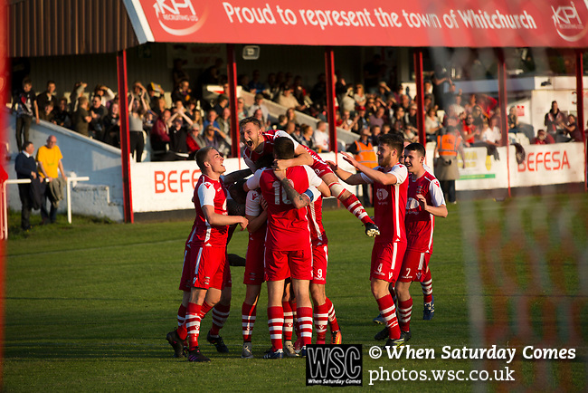 The home team celebrating their second goal in the 10th minute at Yockings Park as Whitchurch Alport hosted Cammell Laird 1907 in the 2017-18 North West Counties Division One play-off final. Alport were formed in 1946 and were named after Alport Farm, Whitchurch, which had been the home of a local footballer Coley Maddocks who had been killed in action in the war. The home team won the match 2-1 watched by a crowd of 733, a club record attendance.