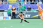 The Hague, Netherlands, June 05: Jordan Grant #27 of New Zealand passes the ball during the field hockey group match (Women - Group A) between New Zealand and The Netherlands on June 5, 2014 during the World Cup 2014 at Kyocera Stadium in The Hague, Netherlands. Final score 0-2 (0-2) (Photo by Dirk Markgraf / www.265-images.com) *** Local caption ***