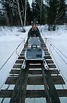 En route pour le lac Emmuraillé sur les hauteurs du fjord Saguenay. Quebec en hiver. Canada.