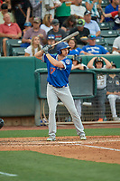 Kyle Garlick (17) of the Oklahoma City Dodgers at bat against the Salt Lake Bees at Smith's Ballpark on August 1, 2019 in Salt Lake City, Utah. The Bees defeated the Dodgers 14-4. (Stephen Smith/Four Seam Images)
