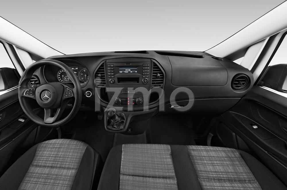 Stock photo of straight dashboard view of 2019 Mercedes Benz Vito Base 4 Door Car Van Dashboard