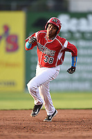 Batavia Muckdogs outfielder Wildert Pujols (38) running the bases during a game against the Jamestown Jammers on July 25, 2014 at Dwyer Stadium in Batavia, New York.  Batavia defeated Jamestown 7-2.  (Mike Janes/Four Seam Images)
