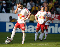 Juan Pablo Angel appears dejected after the Red Bulls go down by two goals in the second half of the MLS Cup 2008. Columbus Crew 3-1 over the New York Red Bulls, Sunday, November 23, 2008.