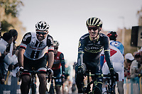former teammates Michael Matthews (AUS/Sunweb) & Adam Yates (GBR/Orica-Scott) on their way to sign-on<br /> <br /> Il Lombardia 2017 <br /> Bergamo to Como (ITA) 247km