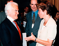 Montreal (Qc) CANADA - 1999 File Photo-Conference de Montreal,Jack Valenti,<br /> Louise Beaudoin