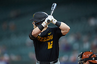 Blake Jackson (12) of the Missouri Tigers at bat against the Texas Longhorns in game eight of the 2020 Shriners Hospitals for Children College Classic at Minute Maid Park on March 1, 2020 in Houston, Texas. The Tigers defeated the Longhorns 9-8. (Brian Westerholt/Four Seam Images)