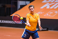 Den Bosch, The Netherlands, April 15, 2021,    Maaspoort, Billy Jean King Cup  Netherlands -  China : Practise  Demi Schuurs (NED) <br /> Photo: Tennisimages/Henk Koster