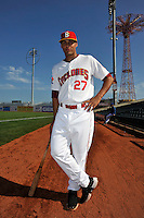Brooklyn Cyclones outfielder Cory Vaughn (27) before game against the State College Spikes at MCU Park in Brooklyn, NY July 8, 2010.  Photo By Tomasso DeRosa/Four Seam Images