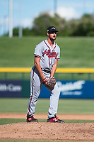 Peoria Javelinas relief pitcher Kyle Muller (22), of the Atlanta Braves organization, gets ready to deliver a pitch during an Arizona Fall League game against the Mesa Solar Sox at Sloan Park on October 24, 2018 in Mesa, Arizona. Mesa defeated Peoria 4-3. (Zachary Lucy/Four Seam Images)