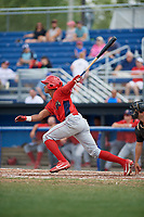 Williamsport Crosscutters center fielder Malvin Matos (26) pops out during the first game of a doubleheader against the Batavia Muckdogs on August 20, 2017 at Dwyer Stadium in Batavia, New York.  Batavia defeated Williamsport 6-5.  (Mike Janes/Four Seam Images)