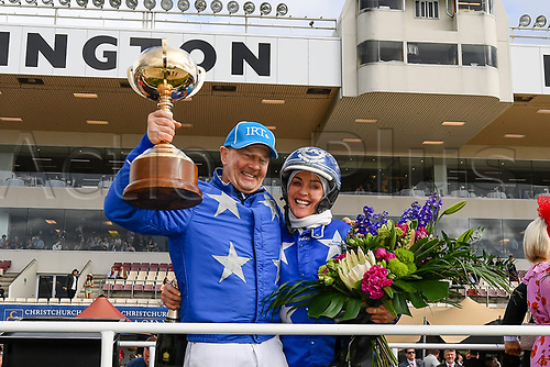 10th November 2020; Christchurch, New Zealand;  Trainer Natalie Rasmussen and driver Mark Purdon with winner Self Assured  during the NZ Trotting Cup at Addington Raceway, Christchurch, New Zealand