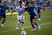 SAN JOSE, CA - JUNE 26: Shea Salinas #6 of the San Jose Earthquakes looks to pass the ball during a game between Los Angeles Galaxy and San Jose Earthquakes at PayPal Park on June 26, 2021 in San Jose, California.