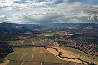 aerial photograph of the Napa Valley from Yountville toward Mount St. Helena, Napa County, California