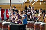 Members of Portland Taiko perform during the Obon Festival at Oregon Buddhist Temple, Portland, Oregon