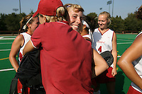 6 November 2007: Stanford Cardinal Madison Bell (facing) and assistant coach Mandy Hart (left) during Stanford's 1-0 win against the Lock Haven Lady Eagles in an NCAA play-in game to advance to the NCAA tournament at the Varsity Field Hockey Turf in Stanford, CA.