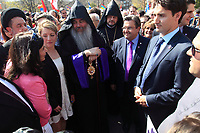 FILE PHOTO  - Liberal leader Justin Trudeau and Montreal mayor Denis Coderre ) attend the Commemoration of the Armenian genocide 100th anniversary, March 5, 2015<br /> <br /> PHOTO : Pierre Roussel - Agence Quebec Presse