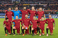 Roma s players, front row, from left, Diego Perotti, Radja Nainggolan, Daniele De Rossi, Alessandro Florenzi, Stephan El Shaarawy, Aleksandar Kolarov; back row from left, Juan Jesus, Alisson, Federico Fazio, Edin Dzeko and Kevin Strootman pose for photos prior to the start of the Champions League Group C soccer match between Roma and Chelsea at Rome's Olympic stadium, October 31, 2017.<br /> UPDATE IMAGES PRESS/Riccardo De Luca