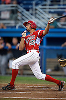 Batavia Muckdogs outfielder Gary Apelian #25 hits a home run during a game against the Connecticut Tigers at Dwyer Stadium on July 6, 2012 in Batavia, New York.  Batavia defeated Connecticut 3-2.  (Mike Janes/Four Seam Images)