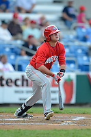 Auburn Doubledays outfielder Jordan Poole #17 during a game against the Williamsport Crosscutters on July 8, 2013 at Bowman Field in Williamsport, Pennsylvania.  Auburn defeated Williamsport 5-1.  (Mike Janes/Four Seam Images)