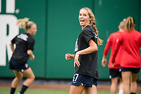 TACOMA, WA - JULY 31: Dani Weatherholt #17 of the OL Reign before a game between Racing Louisville FC and OL Reign at Cheney Stadium on July 31, 2021 in Tacoma, Washington.