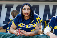 Michigan Wolverines outfielder Jordan Brewer (22) before Game 3 of the NCAA College World Series Finals on June 26, 2019 at TD Ameritrade Park in Omaha, Nebraska. Vanderbilt defeated Michigan 8-2 to win the National Championship. (Andrew Woolley/Four Seam Images)