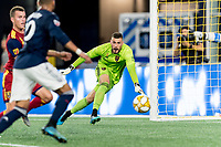 FOXBOROUGH, MA - SEPTEMBER 21: Andrew Putna #51 of Real Salt Lake tracks the ball during a game between Real Salt Lake and New England Revolution at Gillette Stadium on September 21, 2019 in Foxborough, Massachusetts.