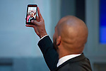 Puerto Rican actor Amaury Nolasco takes a selfie at the red carpet during the photocall of the Global Gift Gala at Cibeles Palace in Madrid. April 02, 2016. (ALTERPHOTOS/Borja B.Hojas)
