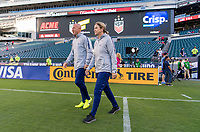 PHILADELPHIA, PA - AUGUST 29: Graeme Abel and Jill Ellis of the United States walk onto the field prior to a game between Portugal and the USWNT at Lincoln Financial Field on August 29, 2019 in Philadelphia, PA.