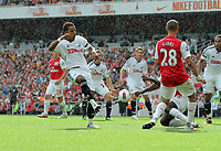 Pictured: Scott Sinclair of Swansea (L) shoots off target. Saturday 10 September 2011<br />