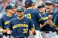 Michigan Wolverines pitcher Joe Pace (32) before Game 6 of the NCAA College World Series against the Florida State Seminoles on June 17, 2019 at TD Ameritrade Park in Omaha, Nebraska. Michigan defeated Florida State 2-0. (Andrew Woolley/Four Seam Images)