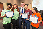 Houston ISD Superintendent Dr. Terry Grier poses for a photograph with Wheatley High School students during the Academic Signing Day activities at the Region 4 Education Center, May 23, 2014.