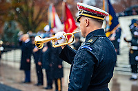 "A bugler from The U.S. Army Band, ""Pershing's Own"" participates in a Presidential Armed Forces Full Honor Wreath-Laying Ceremony at the Tomb of the Unknown Soldier; Arlington National Cemetery; Arlington, Virginia, November 11, 2020. The wreath was laid by President Donald J. Trump as part of the nation's 67th Veterans Day Observance. (U.S. Army photo by Elizabeth Fraser / Arlington National Cemetery / released)"