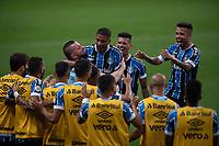 14th November 2020; Arena de Gremio, Porto Alegre, Brazil; Brazilian Serie A football league,Gremio versus Ceara; Jean Pyerre of Gremio celebrates his goal in the 20th minute 1-0 with the bench
