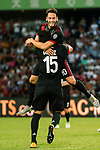 AC Milan Midfielder Hakan Calhanoglu celebrating his score with AC Milan Defender Gustavo Gomez during the 2017 International Champions Cup China match between FC Bayern and AC Milan at Universiade Sports Centre Stadium on July 22, 2017 in Shenzhen, China. Photo by Marcio Rodrigo Machado/Power Sport Images