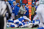 Buffalo Bills head coach Sean McDermott celebrates a defensive play during an NFL football game against the New York Jets, Sunday, December 9, 2018, in Orchard Park, N.Y.  (Mike Janes Photography)