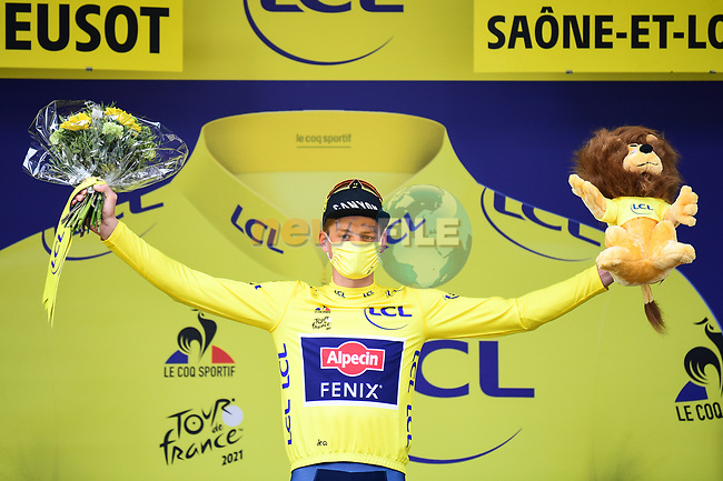 Race leader Mathieu Van Der Poel (NED) Alpecin-Fenix retains the Yellow Jersey at the end of Stage 7 of the 2021 Tour de France, running 249.1km from Vierzon to Le Creusot, France. 2nd July 2021.  <br /> Picture: A.S.O./Pauline Ballet   Cyclefile<br /> <br /> All photos usage must carry mandatory copyright credit (© Cyclefile   A.S.O./Pauline Ballet)