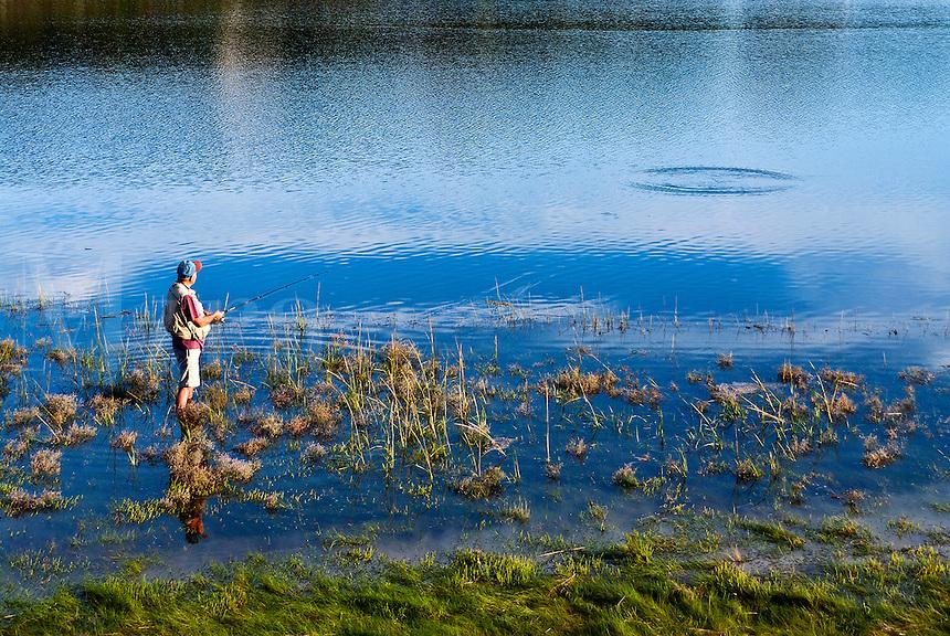 Man fishing, Mill Pond, Orleans, Cape Cod, MA.