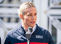 ORLANDO, FL - FEBRUARY 28: Ashlyn Harris #18 of the United States speaks during a SheBelieves press conference at City Hall on February 28, 2020 in Orlando, Florida.