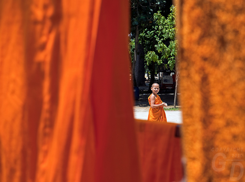 The view through Monks Robes at a Monastery outside Phnom Penh, Cambodia
