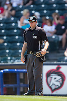 Home plate umpire Brian Peterson between innings of the Eastern League game between the Bowie Baysox and the Richmond Flying Squirrels at The Diamond on May 24, 2015 in Richmond, Virginia.  The Flying Squirrels defeated the Baysox 5-2.  (Brian Westerholt/Four Seam Images)