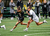 17 April 2021: UMBC Retriever Midfielder Kennedy Evans, a Freshman from Mt. Airy, MD, in action against the University of Vermont Catamounts at Virtue Field in Burlington, Vermont. The Catamounts fell to the Retrievers 11-8 in the America East Women's Lacrosse matchup. Mandatory Credit: Ed Wolfstein Photo *** RAW (NEF) Image File Available ***