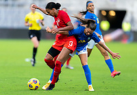 ORLANDO, FL - FEBRUARY 24: Jade Rose #3 of Canada fights for the ball with Gio #20 of Canada during a game between Brazil and Canada at Exploria Stadium on February 24, 2021 in Orlando, Florida.